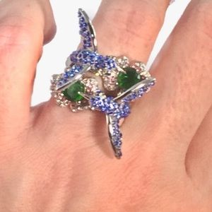 Hummingbird crystal and Sterling Silver ring S. 7